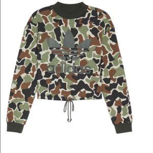 BNWT Adidas Camo Print Drawstring Crop Sweatshirt